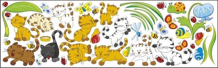 Mint Kitten Dekorace na zeď Kocouři vzor 1 - 0,5 m2