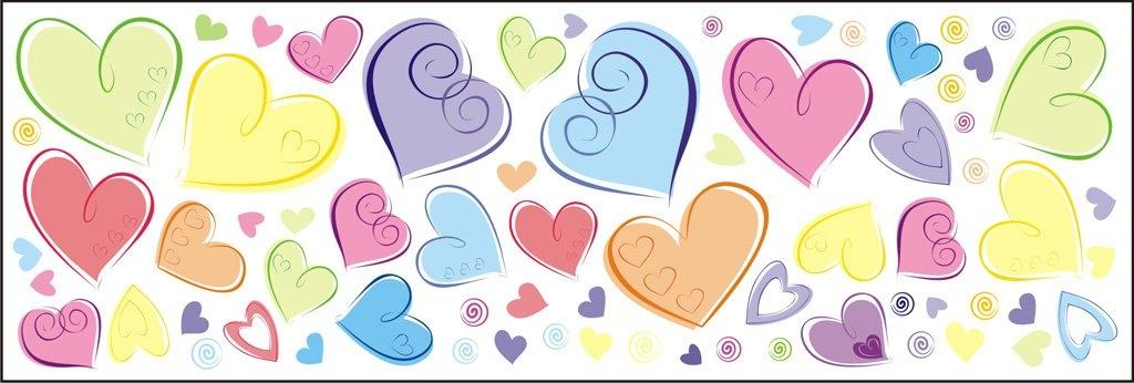 Mint Kitten Dekorace na zeď Pastelová srdce