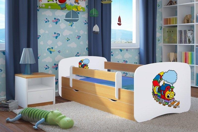Ourbaby Dětská postel se zábranou Ourbaby Veselý vláček - bukový odstín Varianta postel 160 x 80 cm s úložným prostorem, Počet bal. 2