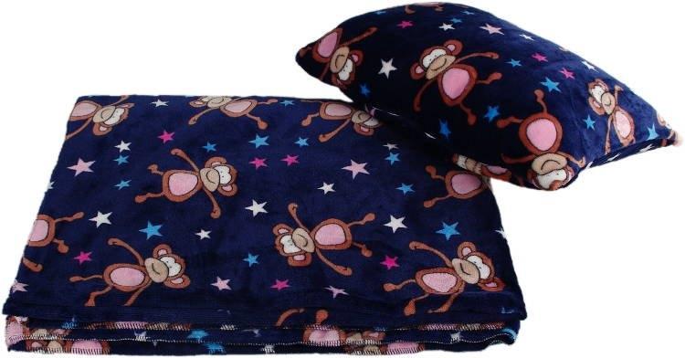 Kaarsgaren s.r.o. Velká deka s polštářem modrá opice
