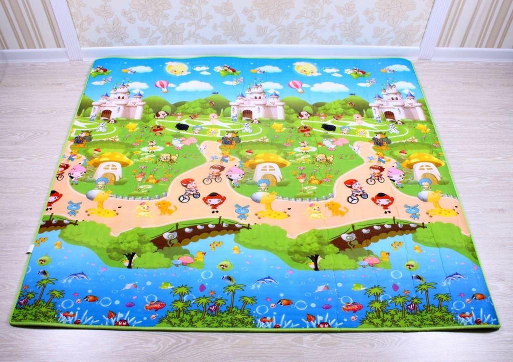 IGRASZKA.S.C. Dětský pěnový koberec - pohádkové městečko + domek lva