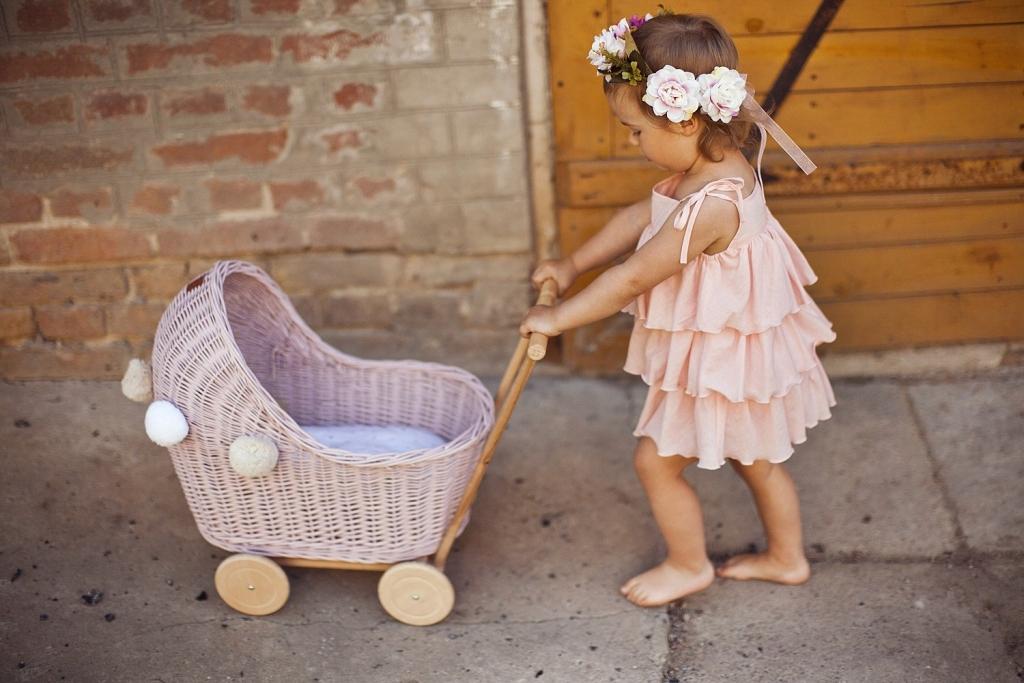LILU LILU Proutěný kočárek pro panenky Varianta WLWN06 - pudrově růžový, Počet bal. 1