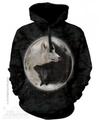 The Mountain Mikina s kapucí Yin Yang Wolves