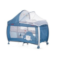Chipolino CHIPOLINO Cestovní postýlka Play pen and crib Casida - blue bear